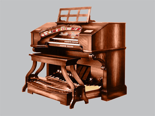 Click here to download a 1600 x 1200 JPG image of a scroll-top 2 manual WurliTzer console.