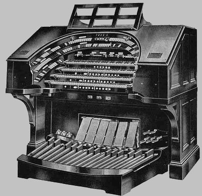 Four manual WurliTzer Empire style console.