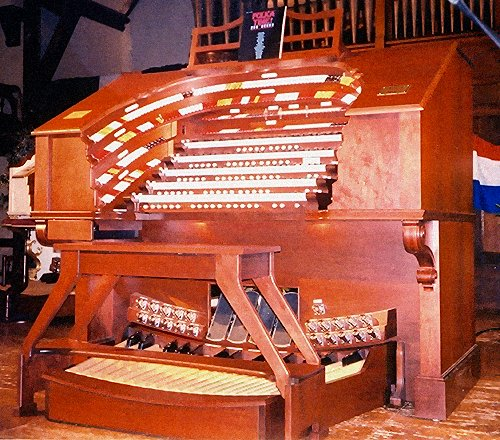 Another shot of the Allen 5/49 TO-5Q Digital Theatre Organ, looking up from below the keydesk.