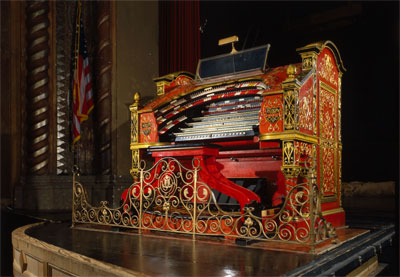 Click here to download a 4497 x 3117 JPG image of Big Bertha, the 4/28 Mighty WurliTzer Theatre Pipe Organ on stage at the Alabama Theatre in Birmingham, Alabama.