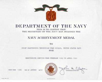 Click here to download a 2055 x 1647 JPG image showing the Meritorous Service Award given to Fred Willis by the US Navy.