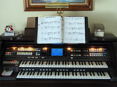 Click here to download a 2592 x 1944 JPG image showing the keydesk of the Technics Digital Organ.