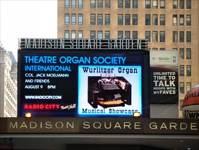 Click here to download a 1557 x 1175 JPG image showing the marquee at Madison Square Garden advertising Jack Meolmann and Friends at the 4/58 Mighty WurliTzer Theatre Pipe Organ installed at Radio City Music Hall in New York City.