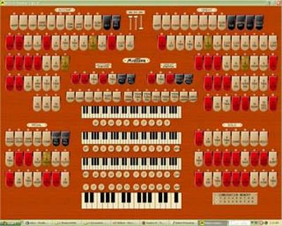 Screenshot of the three manual Mighty MidiTzer, a virtual 3/18 Mighty WurliTzer Balaban 4 Theatre Pipe Organ for your Windows desktop!