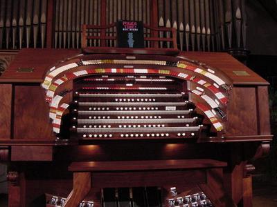 Allen's 5/49 TO-5Q Digital Theatre Organ, looking up from below the keydesk.