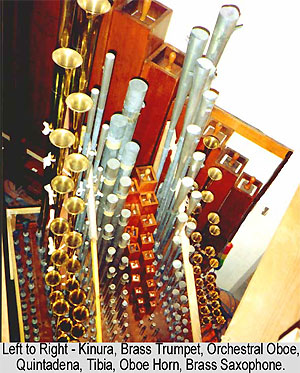 Click here to download a 590 x 734 JPG image showing the Solo Chamber of the 3/16 Mighty WurliTzer Theatre Pipe Organ installed at Tom Worthington High School, Columbus, Ohio.