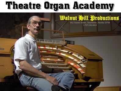 Click here to go to the Theatre Organ Academy on Yahoo! Music. This picture shows the Bone Doctor, Principal of the Theatre Organ Academy, seated at the J. Tyson Forker Memorial 4/32 Mighty WurliTzer Theatre Pipe Organ installed at Grace Baptist Church in Sarasota, Florida.