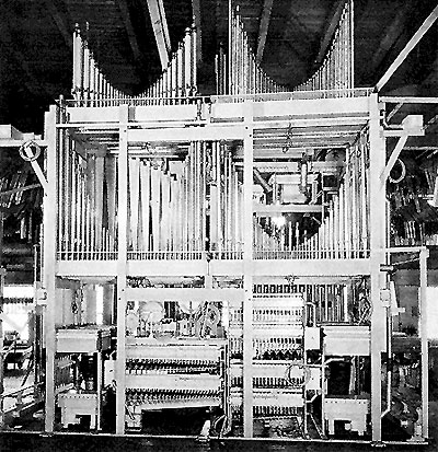 Click here to download a 448 x 463 JPG image showing the Ballroom Organ pipe ranks under construction.