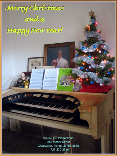 Click here to download a 1944 x 2592 JPG image of the Walnut Hill Mighty Conn 640 Theatre Organ decorated for Christmas!