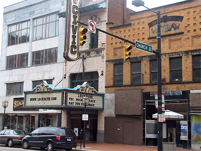 Click here to download a 2592 x 1944 JPG image showing the front entrance to the Civic Theatre in Akron, Ohio.