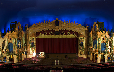 Click here to download a 3072 x 2056 JPG image showing the auditorium of the Civic Theatre as viewed form the center of the balcony. Photograph by Danny Rowland.