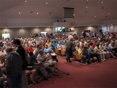Click here to download a 2592 x 1944 JPG image showing the crowd assembling for the events of the evening at Grace Baptist Church.