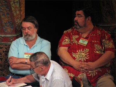 Click here to download a 2592 x 1944 JPG image showing Nelson Page (right) with fellow board members Dan Bellomy (left) and Jack Moelmann (center) at the Tampa Theatre during the 51st Annual ATOS Convention of 2006.