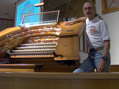 Click here to download a 2048 x 1536 JPG image of the Bone Doctor at the console of the J. Tyson Forker Memorial 4/32 Mighty WurliTzer Theatre Pipe Organ installed at Grace Baptist Church in Sarasota, Florida.