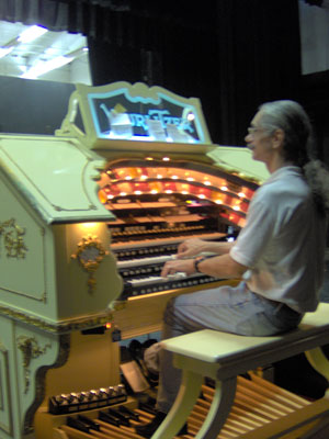 Click here to download a 1536 x 2048 JPG image of the Bone Doctor at the console of the 3/18 Mighty WurliTzer Theatre Pipe Organ installed at Lake Brantley High School in Orlando, Florida.