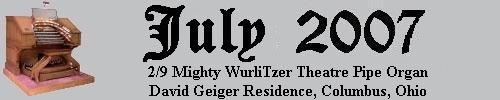 Click here to return to the Featured Organ of the Month page. Scroll down to see the Mighty 2/9 WurliTzer Theatre Pipe Organ installed at Dave Geiger's residence in Columbus, Ohio.