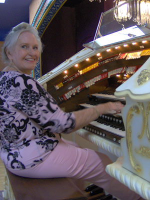 Click here to download a 1536 x 2048 JPG image of Johnnie June Carter at the console of<BR>the Mighty 3/12 Page Theatre Pipe Organ