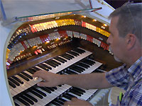 Click here to listen to Tom Hoehn at the console of the 3/12 Grande Page Theatre Pipe Organ at installed at Pipe Organ Paradise in Wimama, Florida.