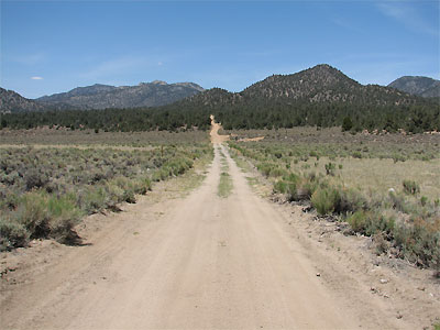 Click here to download a 2592 x 1944 JPG image showing the road leading up the mountain to Kennedy Meadows.