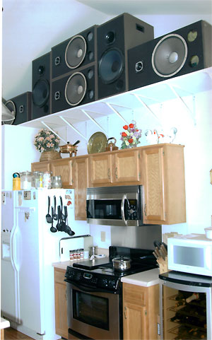 Click here to download a 998 x 1600 JPG image showing the special Allen loudspeakers installed above the cooktop in the kitchen and the Mike Phillips Residence.