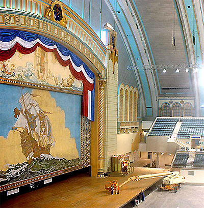Click here to download a 515 x 526 JPG image showing work being done near the auditorium stage.