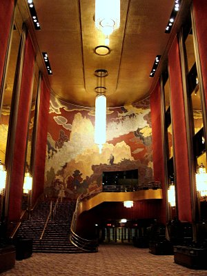 Click here to download a 1200 x 1600 JPG image showing the lobby of the Radio City Music Hall.