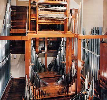 Here we see one of five chambers that in total house 8,000 pipes arranged in 80 ranks.