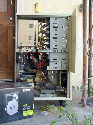 Click here to download a 1932 x 2576 JPG image showing the main data server sitting on the front stoop at the Willis residence, awaiting new parts.