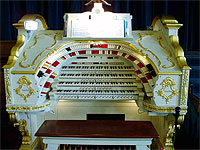 Featured Organ For The Month Of July, 2005 - The 4/20 Mighty WurliTzer installed at the Stockport Town Hall in Cheshire, England.