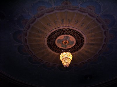 Click here to download a 3648 x 2736 JPG image showing the new chandelier hanging from the ceiling of the Lafayette Theatre.