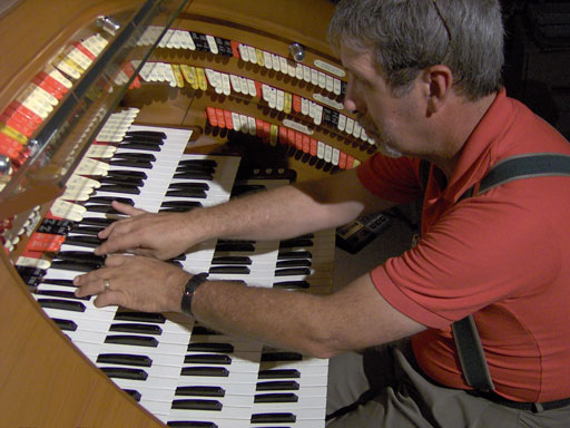 Tom Hoehn playing the J. Tyson Forker Memorial 4/32 Mighty WurliTzer Theatre Pipe Organ. Click here to download a 2048 x 1536 pixel JPG of this picture.