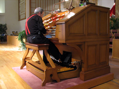 Click here to listen to Tom Hoehn playing the J. Tyson Forker Memorial 4/32 Mighty WurliTzer Theatre Pipe Organ installed at Grace Baptist Church in Sarasota, Florida.