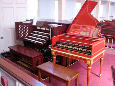 Click here to download a 2592 x 1944 JPG image showing the David Jaques Way Harpsichord next to the 4/93 Rodgers/Ruffatti/Wicks Church Pipe Organ at First United Methodist Church in Clearwater, Florida.