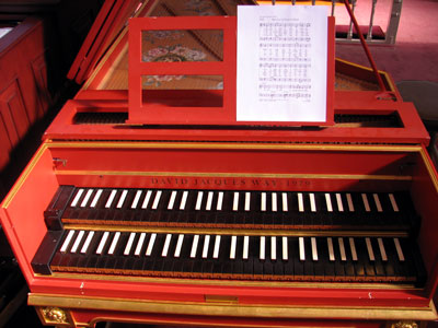 Click here to download a 2592 x 1944 JPG image showing the keydesk of David Jaques Way Harpsichord at First United Methodist Church in Clearwater, Florida.