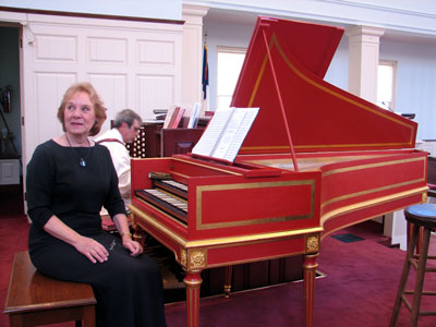 Click here to download a 2592 x 1944 JPG image showing Doctor Rita Fandrich posing for a publicity shot at the David Jaques Way Harpsichord at First United Methodist Church in Clearwater, Florida.