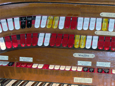 Click here to download a 2048 x 1536 JPG image showing the Great stops of the 3/16 Mighty WurliTzer Theatre Pipe Organ installed at Tom Worthington High School, Columbus, Ohio.