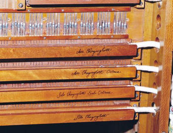 Closeup of 4 Wurlitzer Pipe Organ Rank Switches